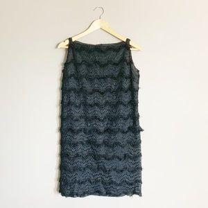 💋SALE. 60s lace and fringe shift dress.